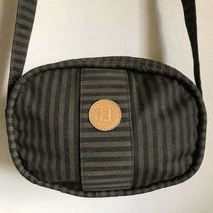 Fendi Vintage Small Brown Stripe Fabric Crossbody